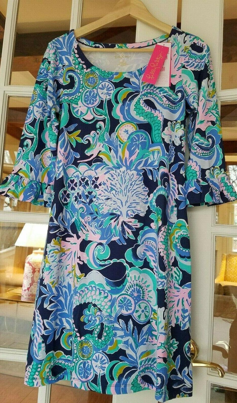 Lilly Pulitzer Sophie Ruffle Dress Sirens and Spirits Bright Blau Marine SMALL 01077