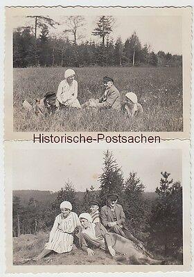 (f10248) 2x Orig. Foto Personen Sitzen Auf Wiese, Wanderung 1930er Von Der Konsumierenden öFfentlichkeit Hoch Gelobt Und GeschäTzt Zu Werden
