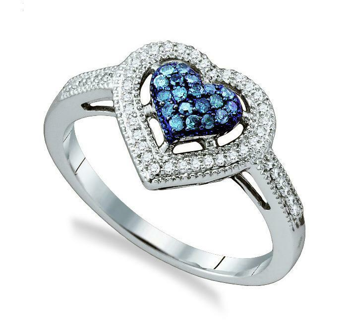 bluee Diamond Ring 10K White gold bluee & White Diamond Heart Cluster Ring .25ct