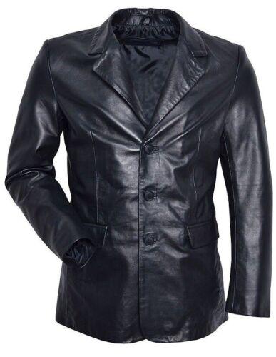 Homme Blazer Slim Jim Noir Sur Mesure Smart Ajusté Doux Cuir Véritable Blazer