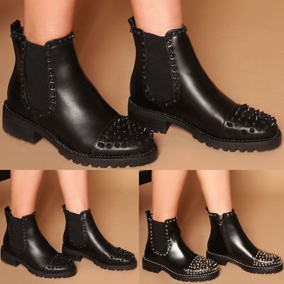 Womens Ladies Ankle Boots Chelsea Low Heel Studded Detail Vintage Boots Size