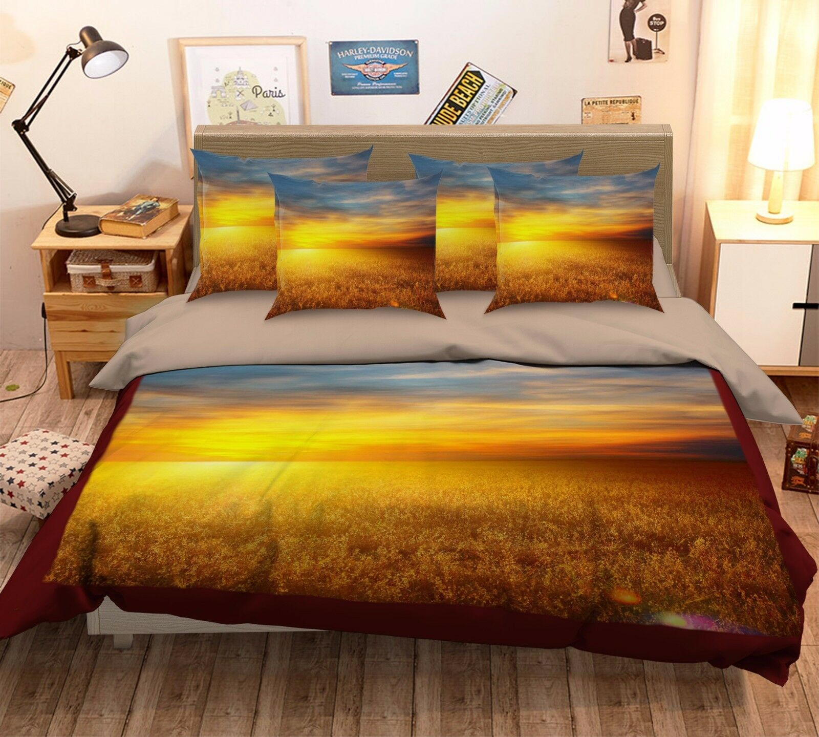 3D golden Sunset Fields 52 Bed Pillowcases Quilt Duvet Cover Set Single Queen CA