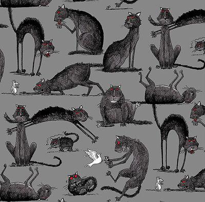 Fat Quarter Oddities Halloween Cats Cotton Quilting Fabric Elizabeth's Studio