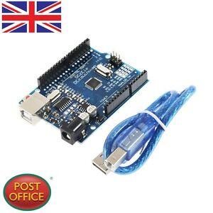 ATmega328P-CH340G-UNO-R3-Tablero-amp-Cable-USB-7-Dorado-Pin-para-Arduino