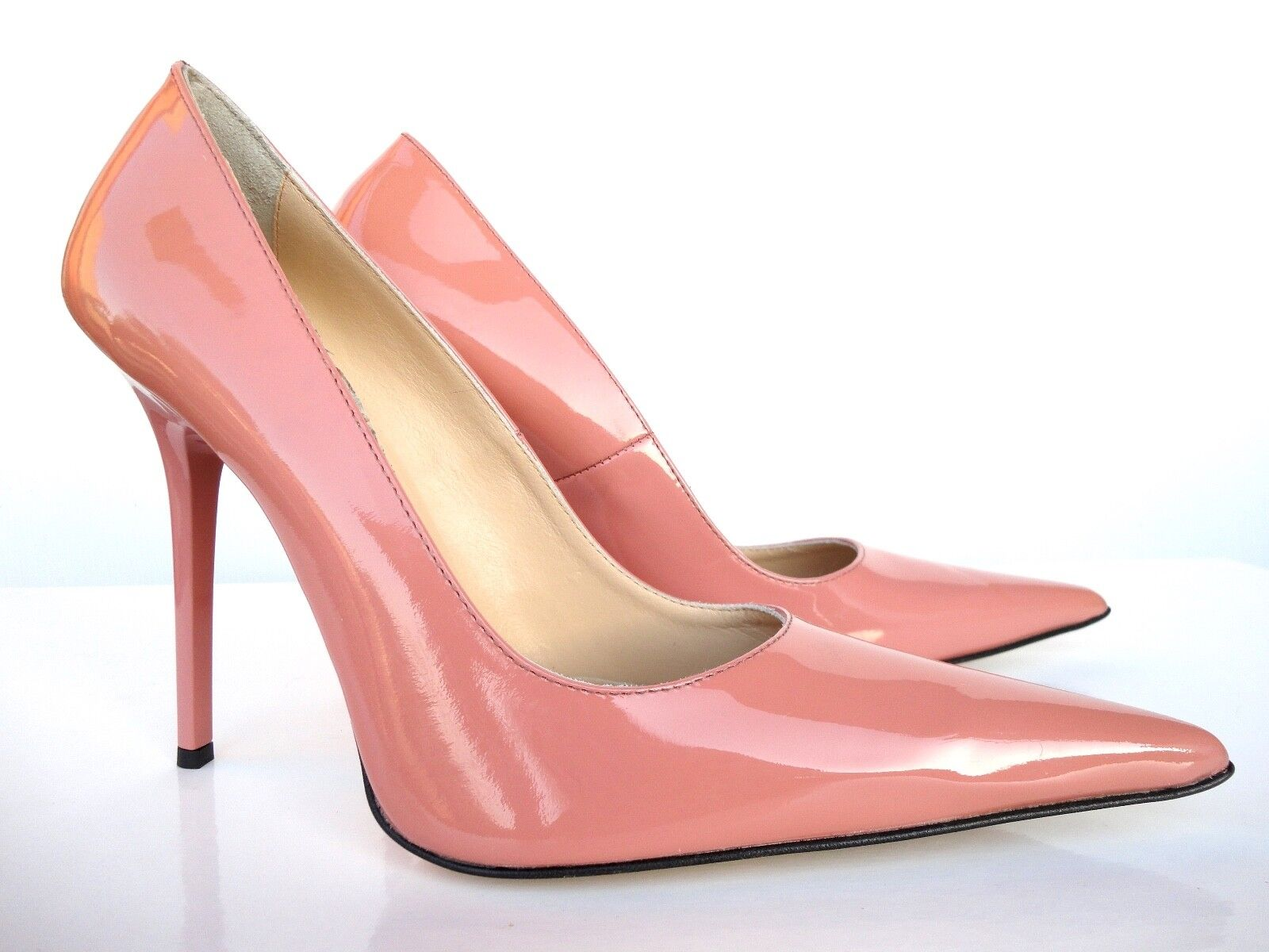 Giohel  Heels Pointy Toe PUMPS SCHUHE Leather Decolte Pink Nude Powder 38