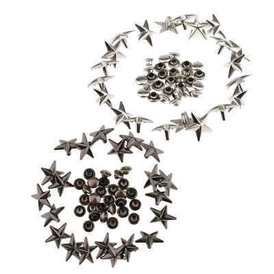 20x Metal Star Rivets Stud Spikes for Bracelet Bag Shoes Leather Gray 13mm