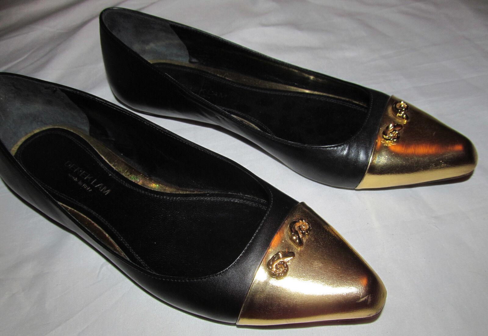 DEREK LAM AVERY SKIMMER gold cap toe ram head flats shoes 38 8 M
