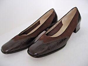 Salvatore-Ferragamo-Italian-Brown-Wing-Tip-Pumps-Shoes-6-AA-EUC