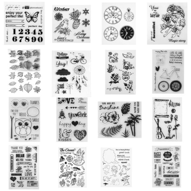 Transparent Clear Silicone Rubber Stamp DIY Cling Diary Scrapbooking Card Gift