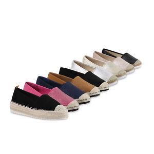 Damen-Slipper-Espadrilles-Bast-Strass-Flats-Freizeit-815812-Schuhe