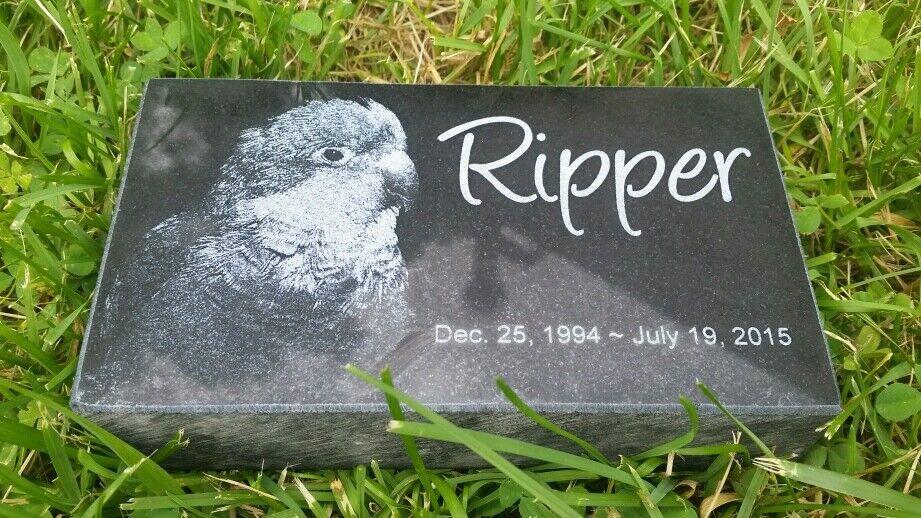 Custom 4  x 7  x 2  Memorial Pet Human Stone Grave Marker Yorkshire Dog Animal