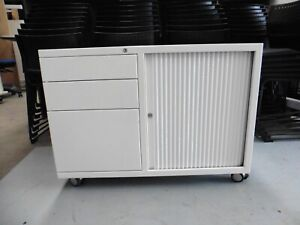 OFFICE-WHITE-SLIDING-DOOR-CABINET-ON-WHEELS-WITH-DRAWERS-BRISBANE
