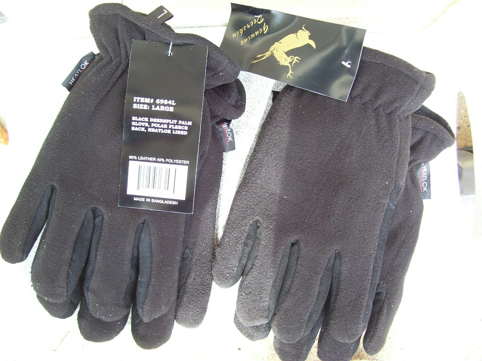 HEATLOK Deerskin Leather Palm Winter Gloves Polar Fleece Lining Size XXS to XXL