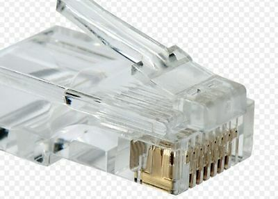 100 Pcs CAT5e//CAT5 RJ45 8P8C Network Cable Plug Connector for Solid Wire 3 Teeth