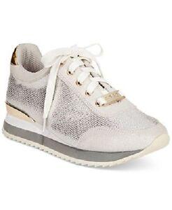 bebe sport corine demi wedge jogger sneakers silver gold