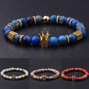 Luxury-8mm-Natural-Stone-Micro-Inlay-Zircon-Gold-King-Crown-Men-Bracelets-Gift