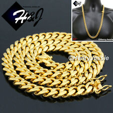 """30""""MEN Stainless Steel HEAVY 12mm Gold Miami Cuban Curb Link Chain Necklace*N154"""