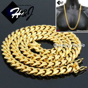 """30/""""MEN Gold Over Stainless Steel 8mm Miami Cuban Curb Link Chain Necklace"""