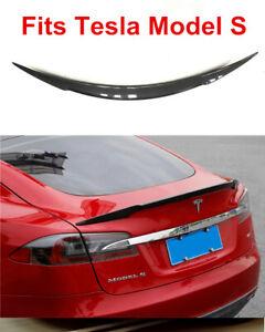 Details about Fit For Tesla Model S Sedan 2012-2017 Carbon Fiber Trunk Lip  Spoiler Sharp Blade