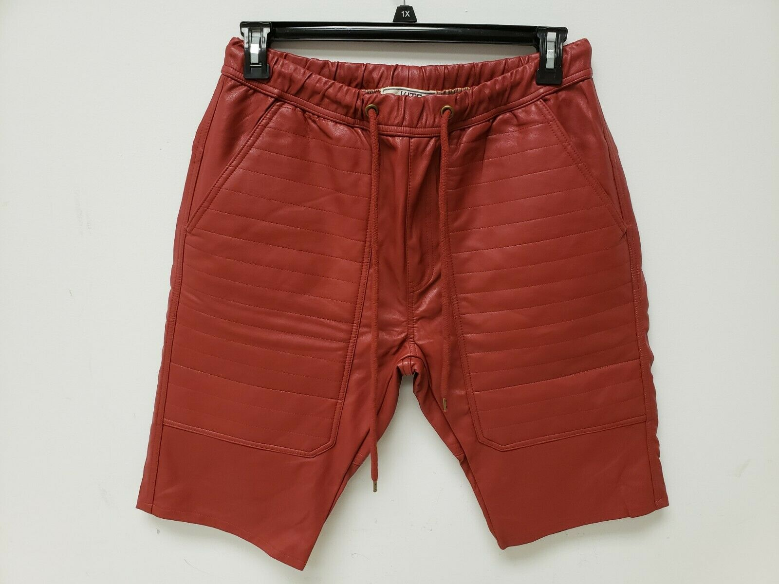 Kite Mens Shorts Vegan Leather 36 Red Drawstring