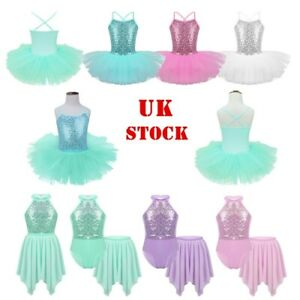 UK-Kid-Girl-Lyrical-Ballet-Dance-Tutu-Dress-Gymnastics-Ballerina-Leotard-Costume