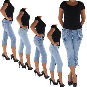 Damen-Capri-3-4-Jeans-Shorts-Bemuda-Kurze-Hueft-Stretch-Hose-88a