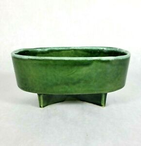 """Vintage Cookson Pottery Planter Footed Green CP 708 USA 8"""" x 4"""""""