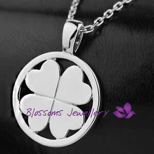 18K-White-GOLD-Layered-Solid-Four-Leaf-Clover-Pendant-NECKLACE-Unisex-ES334-1L