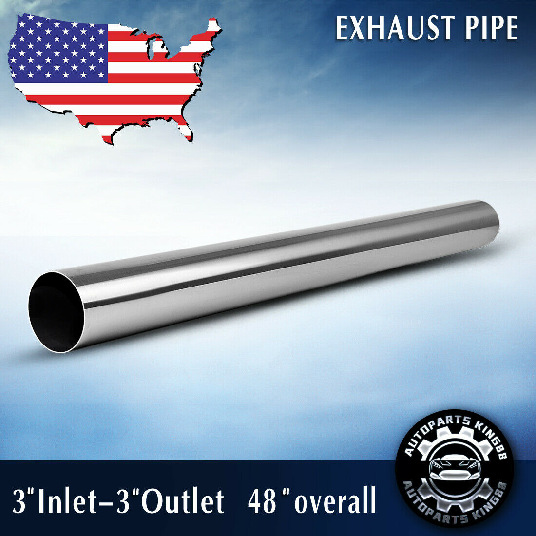 """Long Exhaust Pipes Tube S//S Pair Straight Round OD 3/"""" Inlet 3/"""" Outlet 4FT 48/"""""""