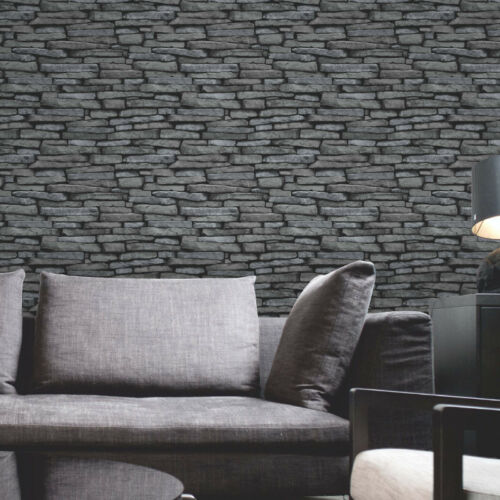 Fine Decor Slate Effect Black Charcoal Grey Stone Wallpaper 10m FD31291
