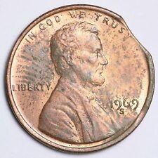 CLIP ERROR 1969-S Lincoln Memorial Small Cent CHOICE BU FREE SHIPPING E226 AH