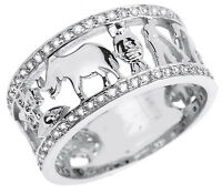Solid 14k White Gold Cz Studded Unisex Lucky Ring