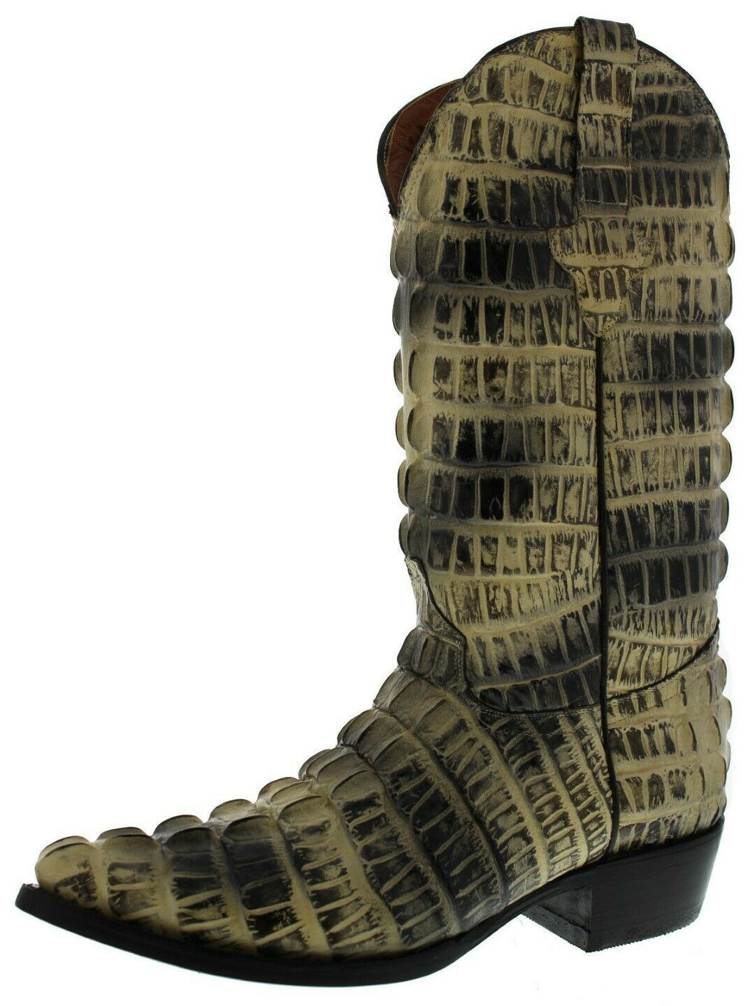 Mens Natural Alligator Tail Print Western Wear Leather Cowboy Boots Pointed Toe