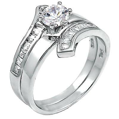 Tallia B Stackable Ice on Fire CZ Semi Eternity Wedding Band Ring