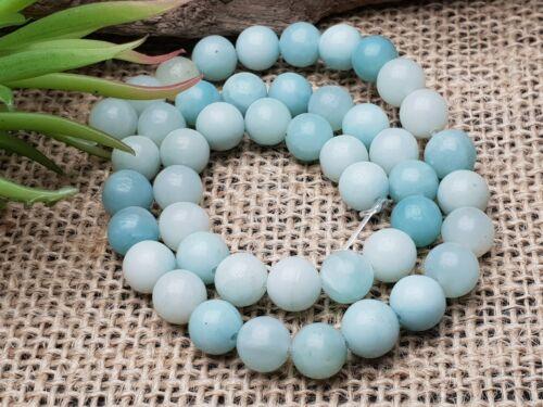 Natural amazonite perlas alrededor de bala Hell azul 8 mm Strang 38 cm