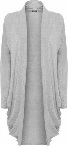 New Ladies Long Sleeve Plain Ruched Pocket Open Stretch Summer Casual Cardigan