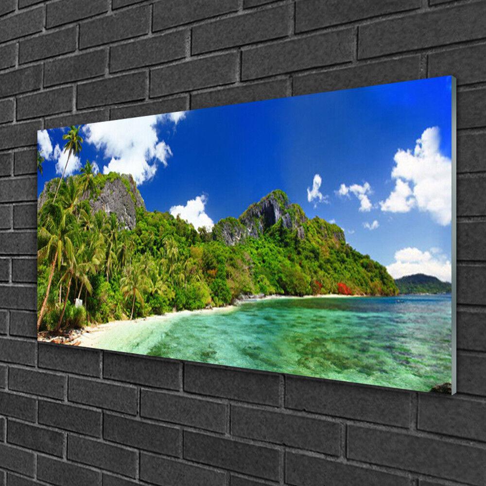 Tableau sur verre Image Impression 100x50 Paysage Montagne Plage