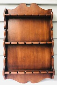 Vintage-Wood-Souvenir-Collectible-Spoon-Holder-Wall-Rack-for-18-Spoons-18-x11-034