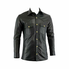 Men's 100% Real Leather Boys Police Military Style Uniform Shirt Casual Shirt