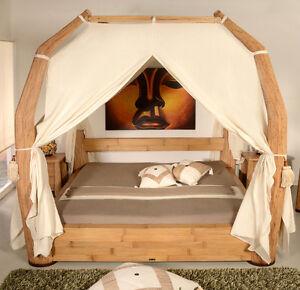 Luxus Himmelbett 140x200 Toraja Natur Doppelbett Bambus Bett Rattan