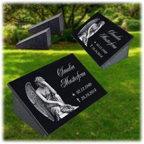 Grabstein Grabplatte 30x20 cm + Granit STÜTZE Gravur Inschrift+Motiv Engel-g11s