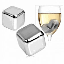 4 pcs Whiskey Whisky Stones Scotch Glacier Ice Cubes Rocks Stainless Steel SS