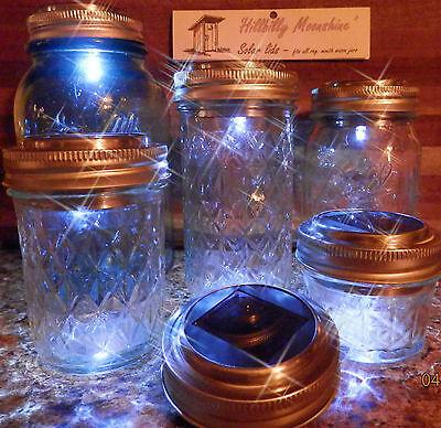 LOT OF 6 SOLAR Powered Mason Canning Fruit Ball Jar LED LID LIGHT Rustic Lamp
