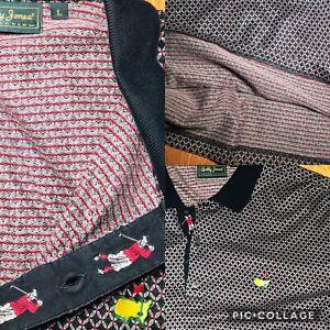 Masters-Golf-Mens-Large-Blk-Red-Polo-Shirt-Short-Sleeve-Bobby-Jones-EUC-RARE