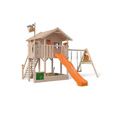 ISIDOR Wonder Wow XXL- Baumhaus Spielturm Schaukel Rutsche auf 1,50 m Podesthöhe
