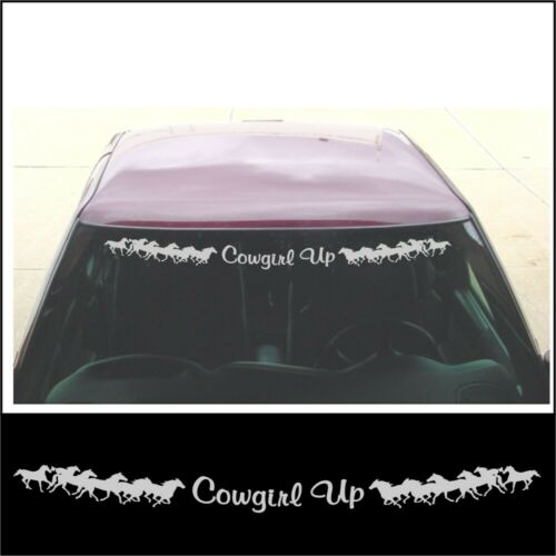 Windshield COWGIRL UP running horse decal girl jeep truck trailer in SILVER