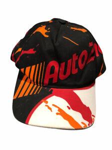 Vintage-Auto-Zone-Adult-Black-Red-Orange-Graffiti-Spellout-Snapback-Hat-Cap-euc