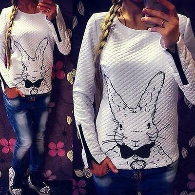 Women New Rabbit Print Knitted Sweater Jumper Tops Pullover Cardigan Knitwear