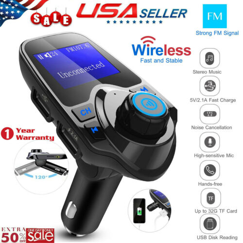 Wireless Car FM Transmitter Radio Adapter Mp3 Player AUX In Dual USB Charger