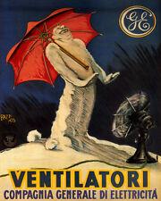 VENTILATORI GE FAN SNOW MAN COOL AIR ITALY 8X10 VINTAGE POSTER REPRO FREE S/H